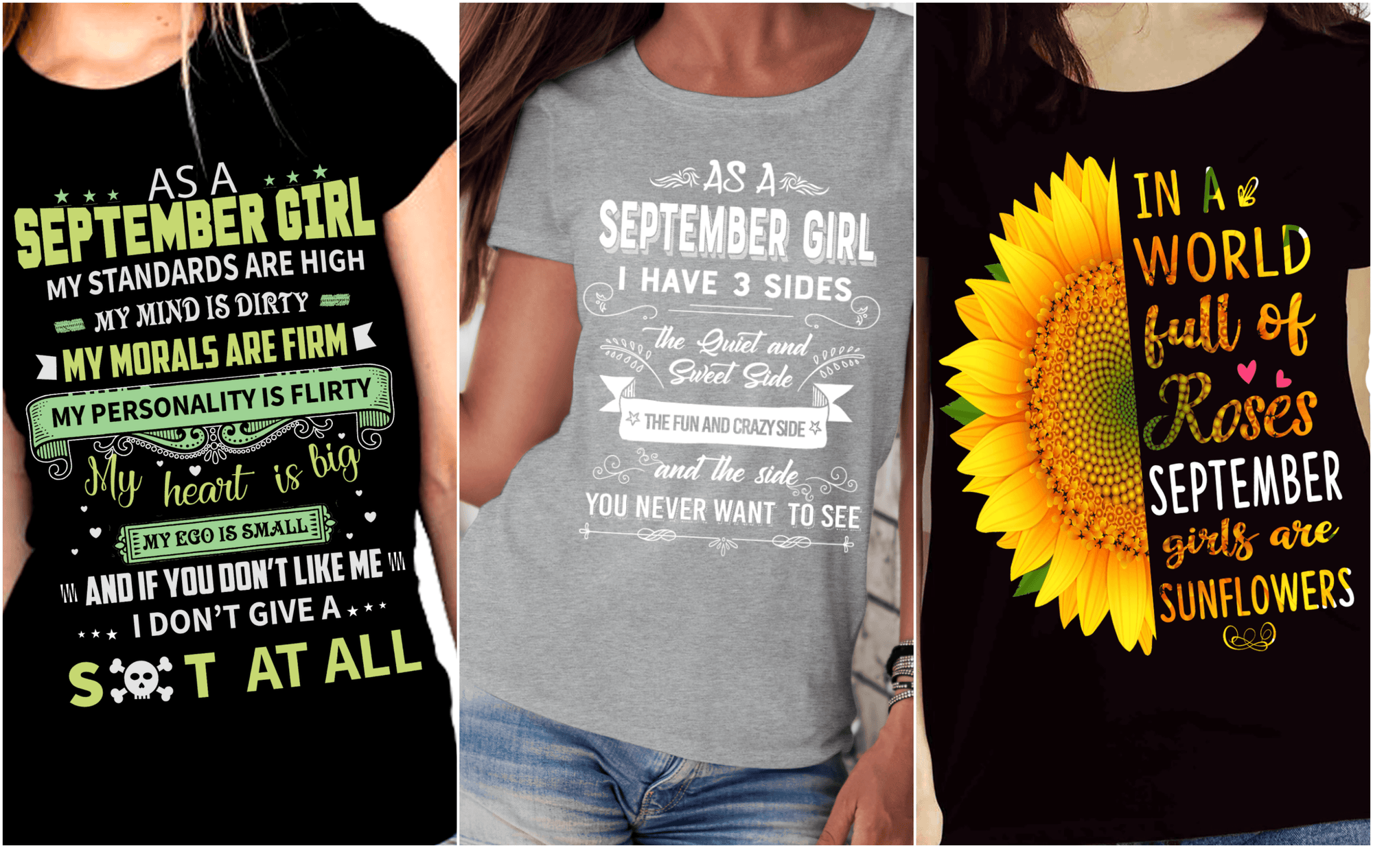 """Get Exclusive Discount On September Combo Pack Of 3 Shirts(Flat Shipping) For B'day Girls - LA Shirt Company"