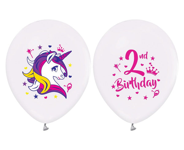 Set 5 baloane latex 30 cm -2nd Birthday (Unicorn) - Tomvalk