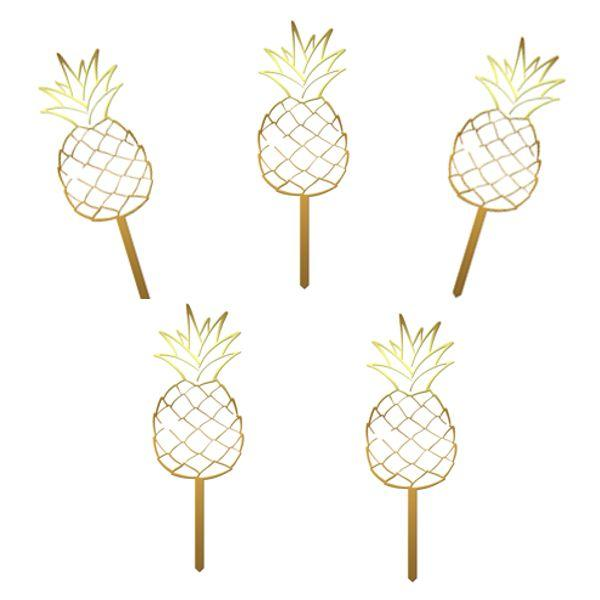 Set 10 cupcake toppers Ananas - Tomvalk