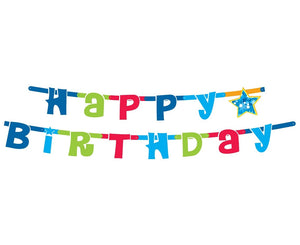 "Banner ""Happy Birthday"" - albastru"
