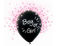 "Set 4 baloane latex 30 cm - ""Boy or Girl?"", confetti roz - Tomvalk"