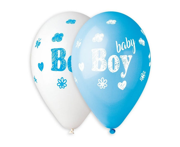 "Set 5 baloane latex 33 cm - albastru ""Baby Boy"" - Tomvalk"