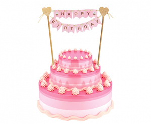 Decoratiune tort Happy birthday - roz - Tomvalk