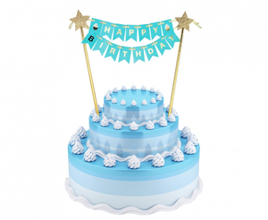 Decoratiune tort Happy birthday - albastru - Tomvalk