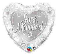 "Balon folie 45 cm -  Inimă ""Just Married"", argintiu - Tomvalk"