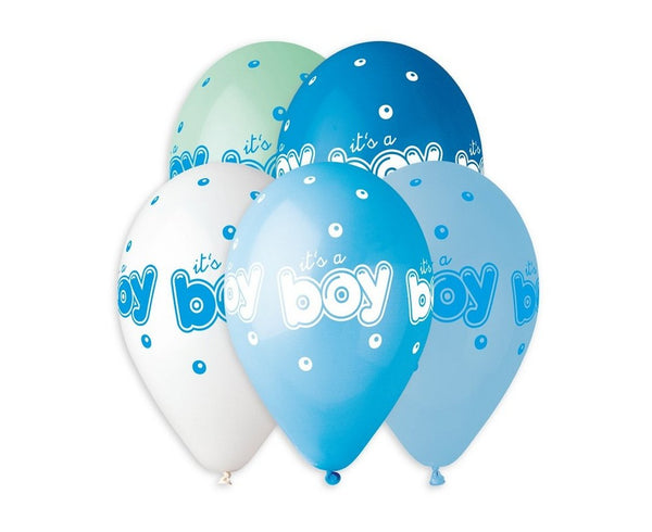 "Set 5 baloane latex 33 cm - ""It's a boy"", diferite culori - Tomvalk"