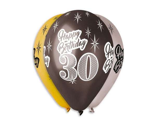 "Set 6 baloane latex 76 cm - ""Happy Birthday 30"", diferite culori metalic"