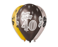 "Set 5 baloane latex 76 cm - ""Happy Birthday 40"", diferite culori metalic - Tomvalk"