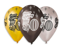 "Set 6 baloane latex 30 cm - ""Happy Birthday 50"", diferite culori metalic - Tomvalk"