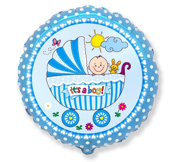 "Balon folie 45 cm - Cărucior rotund ""Its a boy!"" - Tomvalk"