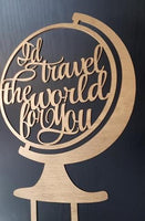"Topper tort nunta ""I`d travel the world for you"""