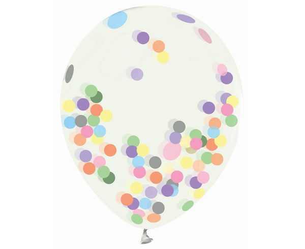 Set 4 baloane latex 30 cm - transparent,  cu confeti multicolor - Tomvalk