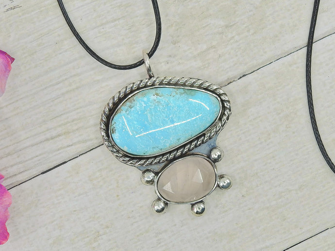 Campitos Turquoise & Rose Quartz Pendant - Sterling Silver - Gem & Tonik