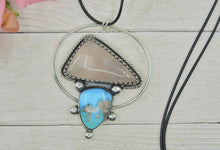 Load image into Gallery viewer, Morenci Turquoise & Rose Quartz Pendant - Sterling Silver - Gem & Tonik