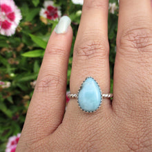 Load image into Gallery viewer, Pear Shaped Larimar Ring - Size 6 1/2 - Sterling Silver - Gem & Tonik