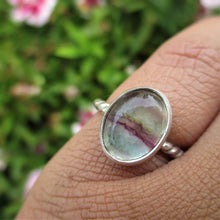 Load image into Gallery viewer, Purple & Green Fluorite Ring - Size 4.25 - Sterling Silver - Gem & Tonik