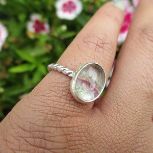 Purple & Green Fluorite Ring - Size 4 1/4 - Sterling Silver - Gem & Tonik