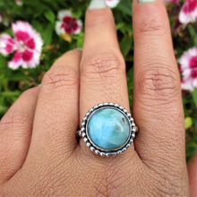 Load image into Gallery viewer, Round Larimar Ring - Size 9 - Sterling Silver - Gem & Tonik