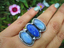 Load image into Gallery viewer, Lapis Lazuli & Moonstone Triple Stone Ring - Size 7 1/2 - Sterling Silver - Gem & Tonik