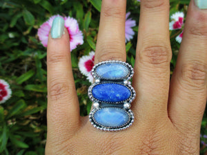 Lapis Lazuli & Moonstone Triple Stone Ring - Size 7 1/2 - Sterling Silver - Gem & Tonik