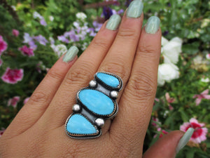 Turquoise Mountain Triple Stone Ring - Size 9 - Sterling Silver - Gem & Tonik