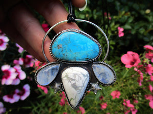 The Wave Tamer - Morenci Turquoise, Blue Moonstone & White Howlite Pendant - Gem & Tonik