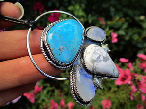 The Wave Tamer - Morenci Turquoise, Blue Moonstone & White Howlite Pendant - Sterling Silver - Gem & Tonik