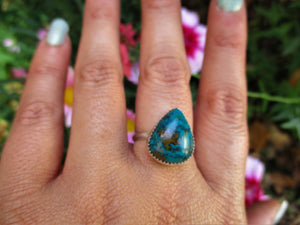 Chrysocolla Ring - Size 8 1/2 - Gem & Tonik