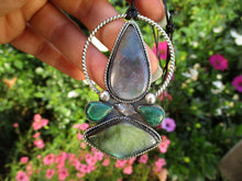 Load image into Gallery viewer, Yggdrasill - Moss Agate, Labradorite & Malachite Pendant - Gem & Tonik