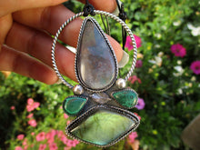 Load image into Gallery viewer, Yggdrasill - Moss Agate, Labradorite & Malachite Pendant - Sterling Silver - Gem & Tonik