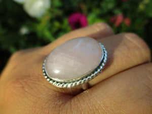Large Rose Quartz Ring - Size 9 1/4 - Sterling Silver - Gem & Tonik