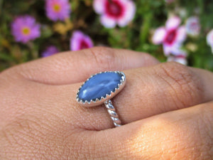 Marquise Peruvian Blue Opal Ring - Size 6 1/2 - Sterling Silver - Gem & Tonik