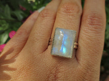 Load image into Gallery viewer, Rectangular Rainbow Moonstone Ring - Size 10 - Gem & Tonik