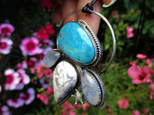 Load image into Gallery viewer, The Wave Tamer - Morenci Turquoise, Blue Moonstone & White Howlite Pendant - Gem & Tonik