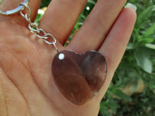 Load image into Gallery viewer, Smoky Quartz Heart Keyring - Sterling Silver & Stainless Steel - Gem & Tonik
