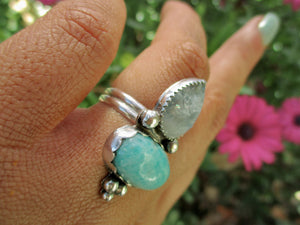 Amazonite & Moonstone Ring - Size 7 1/2 - Sterling Silver - Gem & Tonik