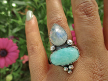 Load image into Gallery viewer, Amazonite & Moonstone Ring - Size 7 1/2 - Sterling Silver - Gem & Tonik