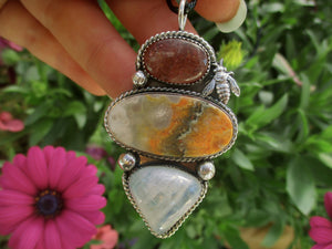 The Beekeeper - Bumblebee Jasper, Sunstone and Moonstone Pendant - Gem & Tonik