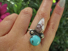 Load image into Gallery viewer, Wild Horse & Nacozari Turquoise Ring - Size 8 - Sterling Silver - Gem & Tonik