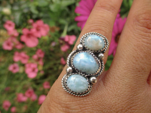 Larimar Triple Stone Ring - Size 5 1/2 - Gem & Tonik