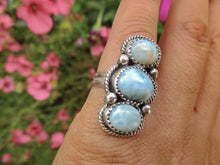 Load image into Gallery viewer, Larimar Triple Stone Ring - Size 5 1/2 - Sterling Silver - Gem & Tonik