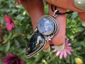 Moonstone & Azurite Shooting Star Pendant - Sterling Silver - Gem & Tonik