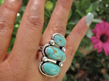Load image into Gallery viewer, Triple Tyrone Turquoise Ring - Size 7 1/2 - Sterling Silver - Gem & Tonik