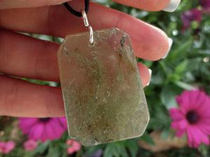 Large Moss Agate Trapezoid Pendant - Sterling Silver - Gem & Tonik