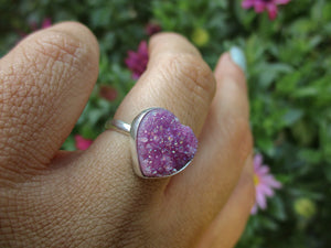 Rose Aura Quartz Heart Ring - Size 6 - Gem & Tonik