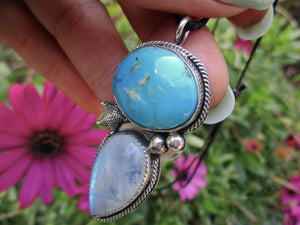 Siren's Call - Morenci Turquoise & Moonstone Pendant - Sterling Silver - Gem & Tonik