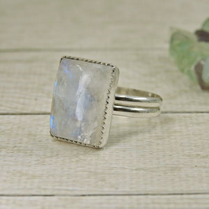 Rectangular Rainbow Moonstone Ring - Size 10 - Sterling Silver - Gem & Tonik