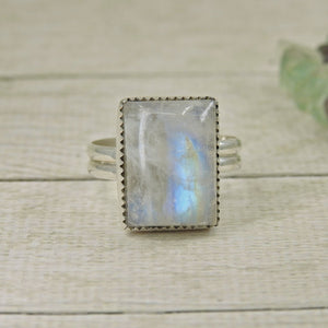 Rectangular Rainbow Moonstone Ring - Size 10 - Gem & Tonik