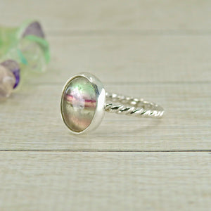 Purple & Green Fluorite Ring - Size 4.25 - Sterling Silver - Gem & Tonik