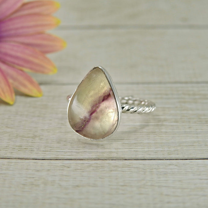 Pear Shaped Fluorite Ring - Size 5 - Sterling Silver - Gem & Tonik